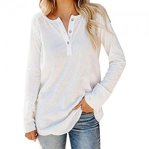 Voicry Frauen Lose Solide Langarm V-Ausschnitt Knopf Bluse T-Shirt Pullover Tops