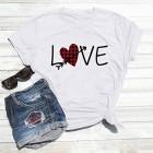 yazidan Valentine\'s Day Damen Oberteile Mädchen Kariertes Liebesherz Love Drucken Kurzarm Rundhals Tees Sommer Freizeit T-Shirt Tops Blusen