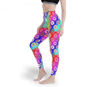 Qunrontan Donut Damen-Leggings aus Baumwolle hohe Taille Yoga-Hose dünne Capri-Strumpfhose für Pilates Fitnessstudio