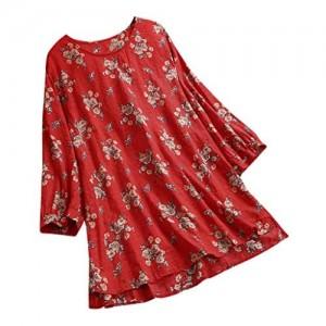 AmyGline Sommer Oberteil Damen Bluse Top Baumwolle Leinen Langarm BluseShirt T Shirt Tunika Tops Blusen Tees Sweatshirt Pullover Hemd