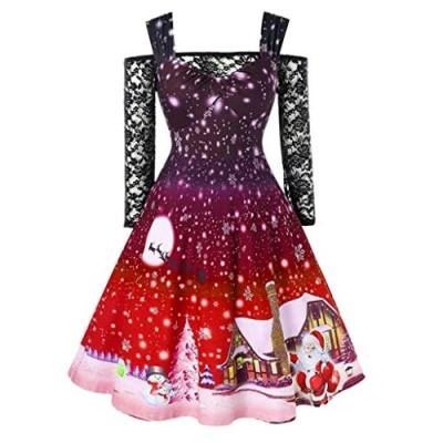 ReooLy Mode Frauen kalte Schulter Spitze T-Shirt Patchwork Farbverlauf Print Weihnachten Print Vintage Kleid