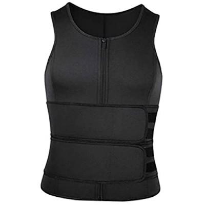 MFFACAI Neopren-Saunaanzug für Männer Taillentrainer Weste Reißverschluss Body Shaper mit Verstellbarem Tanktop
