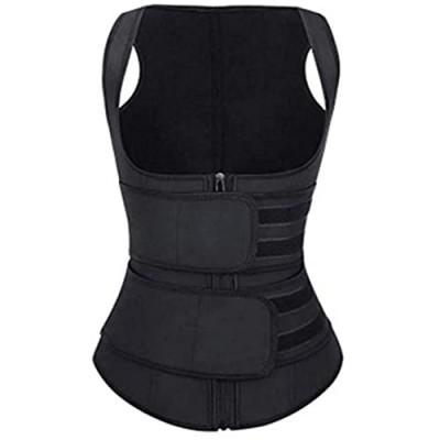 Women Waist Trainer Vest slimming body shaper Neoprene Sweat Vest With Zipper Adjustable Waist Trimmer Belt for Women 2-in-1 Bust Lifter & Waist Shaper (Black XL)