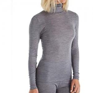 CALIDA Donna Langarm-Shirt mit Rollkragen aus Wolle-Seide Damen