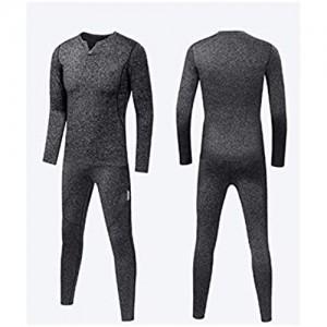SHJMANPA Sport Thermo Unterwäsche Sets Herbst Winter Verdickung V-Ausschnitt Männer Warmer Anzug Konstante Lock-Temperatur Dauerhafte Wärme Gray X-Large