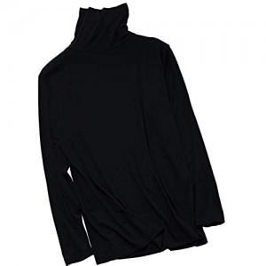 Xin Hai Yuan Herren Ultra Soft High Neck Thermal Unterwäsche Shirt Langarm Unterwäsche T-Shirt Schwarz XXL