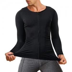 Chumian Herren Kompressionsshirt mit langen Ärmeln Unterhemd figurformend athletisches Workout-Shirt Sport-Tanktop mit Reißverschluss