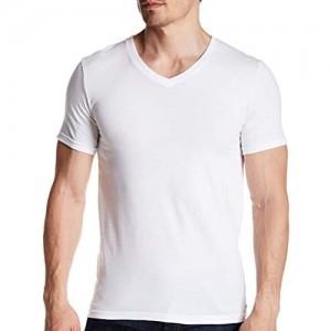 SES 2er Pack Herren Business Kurzarm Unterhemd mit V-Ausschnitt