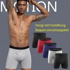 Misfuso Herren Boxershorts 5er Pack Unterwäsche Unterhosen Männer Retroshorts mit längerem Bein S-2XL aus Baumwolle