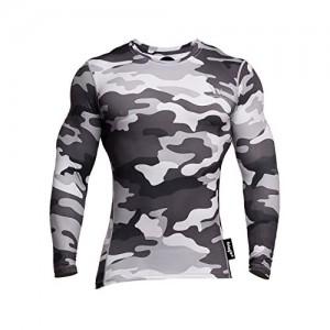 fringoo Sport-Kompressions-Shirt für Herren Trainings-Oberteil langärmelig Thermo-Unterwäsche S M L XL