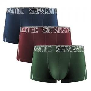 Separatec Herren Unterwäsche 3er Pack Weich und Atmungsaktiv Bambus Rayon Separated Pouch Trunks
