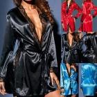 Celucke Nachtwäsche Damen Morgenmantel Kimono Satin Spitze Kurze Robe Bademantel Langarm V Ausschnitt Hochzeits Roben mit Gürtel Nachthemd
