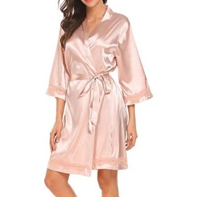 UNibelle Damen Morgenmantel Kimono Kurz Bademantel V Ausschnitt Roben Mit Blumenspitze S-XXL