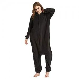 CUIZC Damen Einteiliger Schlafanzug Herbst und Winter Tier Cartoon Einteiler Schlafanzug Schwarz Bär Polar Fleece Heimkleidung