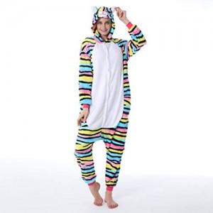 JXILY Damen Schlafanzug Tier Kostüm Farbe Katze Tiger Katze Pyjama Paar Eltern-Kind Tier Einteiligen Pyjama Bequem Warm Overall mit Kapuze