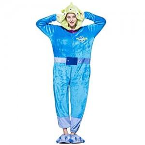 JXILY Tier Kostüm Einteiliger Damen Schlafanzug Cartoon Einteiliger Pyjama Dreiäugiges Monsterkostüm Für Männer und Frauen Bequem Warm Overall mit Kapuze