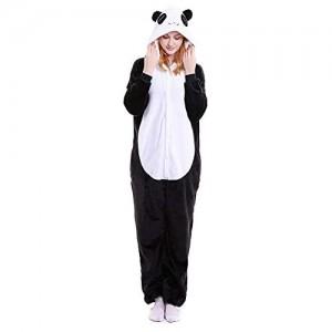 Pyjama-Set für Damen Baumwolle süßer Flanell-Panda-Schlafanzug für Damen Einteiler Einteiler Nachtwäsche