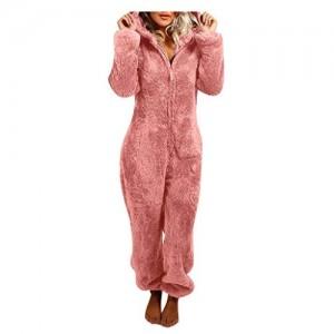 SHINEHUA Damen Schlafanzug Jumpsuit Teddy Fleece Reißverschluss Einteiler Overall mit Kapuze Warme Weich Flauschig Onesie Pyjama
