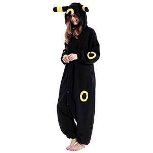 Umbreeon Schlafanzug für Erwachsene Plüsch Einteiler Cosplay Tier Hauskleidung Nachtwäsche Jumpsuit Kostüm für Damen und Herren