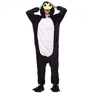 ZHHAOXINPA Pinguin Kostüm Anzug Onesie Jumpsuit Einteiler Body für Erwachsene Damen Herren als Pyjama oder Schlafanzug Unisex