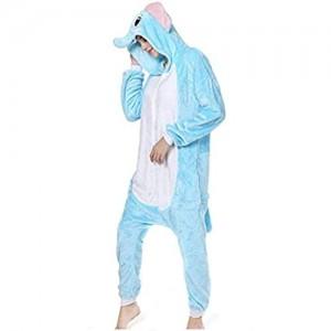 ZWwei Kigurumi Schlafanzug für Erwachsene mit Kapuze Einteiler Flanell Einteiler Kostüm (Farbe: A Größe: M)