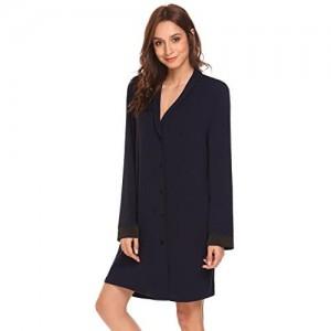 ADOME Stillnachthemd Damen Kurzarm Nachthemd Stillshirt Kurz Umstandskleid Umstandsnachthemd Nachtwäsche mit Knopfleiste für Schwangere