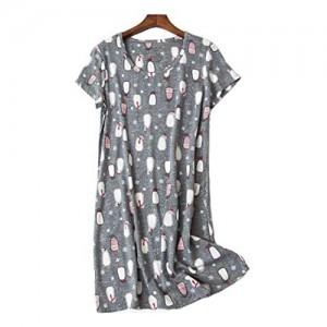 Nachthemd Damen Nachtwäsche Baumwolle Lose Sleepshirt Kurzarm Sexy Schlafshirt Nachtkleid große größe Kleid