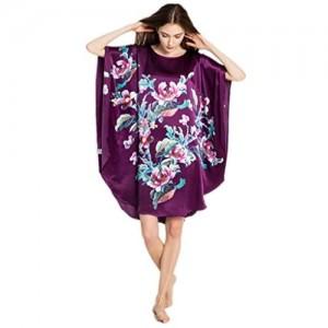 prettystern Damen Seide Kimono Lange Tunika Nachthemd