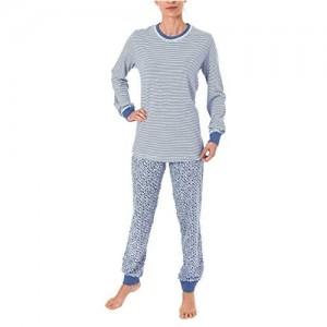Damen Schlafanzug Pyjama Langarm mit Bündchen Hose Tupfenoptik Top Streifendesign 60775