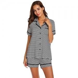 Ekouaer Schlafanzug Damen Kurzarm Gestreift Pyjama Set Sleepwear Zweiteilige mit Knöpfen S-XXL