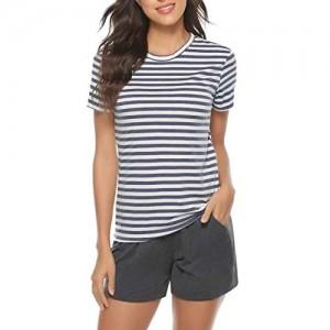 Irevial Damen Kurz Schlafanzug Baumwolle Streifen Pyjama Rundhals-Ausschnitt Streifenhose Hausanzug Sommer Sleepwear