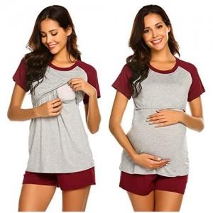 MAXMODA Damen Schlafanzug Umstands Pyjama mit Stillfunktion Zweiteilige Homewear