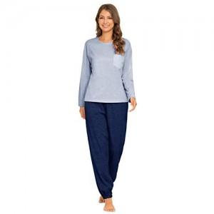 MINTLIMIT Damen Schlafanzug Zweiteiliger Baumwolle Pyjama Set Kurzarm Oberteil & Shorts Set Hausanzug Sleepwear Lounge Wear Sommer Jogger