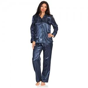 Normann Satin Pyjama Streifendessin - innen angeraut 251 201 94 010
