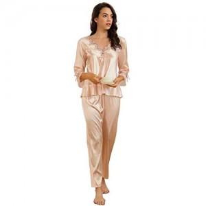 ohyeahlady Damen Schlafanzug 3/4 Arm V Ausschnitt Satin Nachtwäsche Pyjama-Set Loungewear