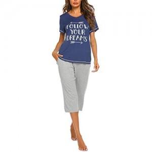 Pyjama Set Damen Schlafanzug Kurzarm 3/4 Hose Sleepwear Zweiteilige Baumwolle Nachtwäsche Hose Freizeitanzug Blau-M