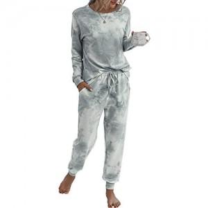 Spec4Y Pyjama Damen Zweiteilige Nachtwäsche Tie Dye Druck Langarm Oberteil Lang Hose Schlafanzug Loungewear mit Taschen