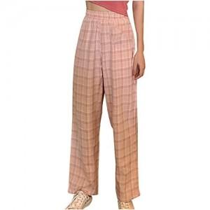 Amphia Damen Schlafanzug Pyjamahose Nachtwäsche Breites Bein Hose Lang Streifen Lang Jerseyhose Schlafanzughose Unifarbe Freizeithosen Hausehose
