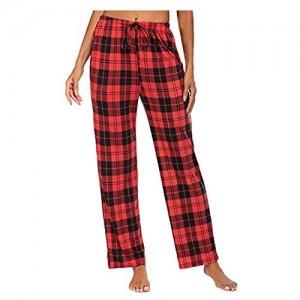 WGNNAA Schlafanzughose Damen Lang Pyjamahose Kariert Nachtwäsche Schlank Hose Freizeithose Schlafhose mit Taschen und Kordelzug
