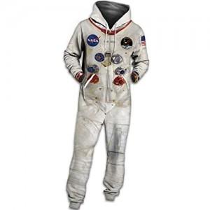 FGVBWE4R Neuer Unisex Hoodie 3D NASA Printed Jumpsuit Hoodie mit Tunnelzug-Reißverschluss-Overall Jugend-Astronauten-Kleidungs-beiläufiger Pyjama