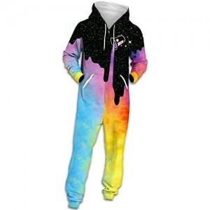 FGVBWE4R Unisex Onesie Hoodie Tropfen Milchflasche 3D Print Overall Mode Galaxy Print Reißverschluss warme Pyjamas Freizeitkleidung