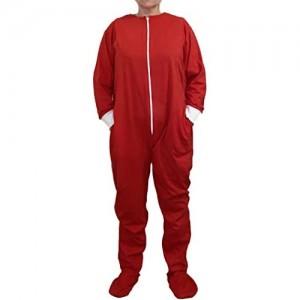 Funzee Jumpsuit mit Füßen Onesie Overall Hausanzug Einteiler Strampler Trainingsanzug Pyjama Rot L