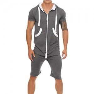 security Herren Jumpsuit Einteiler Gart Nicht Fuß Pyjama Playsuit Hoodie Bluse