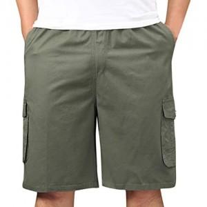 WFRAU Herren Sommer Einfarbig Kurze Hose mit Taschen Fitness Größe XL-5XL Sport Lässige Shorts Cargohosen Jogginghose Mode Freizeit Laufen Hose Trainingshose Jogginghose