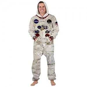 XiaoHeJD Overall NASA Astronaut Space Suit Party Lässig Big Pocket Home Pyjamas Kordelzug Hooded Jumpsuit