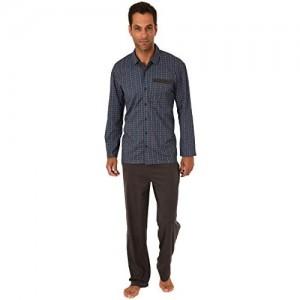 Eleganter Herren Pyjama Schlafanzug Langarm zum durchknöpfen - auch in Übergrössen bis Gr. 70-191 101 90 512