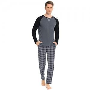 Hawiton Schlafanzug Herren Pyjama Lang Pyjamas Set Streifen Nachtwäsche Set mit Tasche Zweiteiliger aus Baumwolle mit Pyjamahose und Langarm Shirt Rundhals Hausanzug