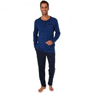 Herren Pyjama Schlafanzug in lässiger Streifenoptik und mit Knopfleiste 191 101 90 504