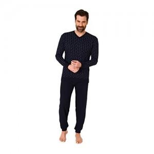 Herren Schlafanzug Langarm Pyjama mit Bündchen in eleganter Optik - 66540