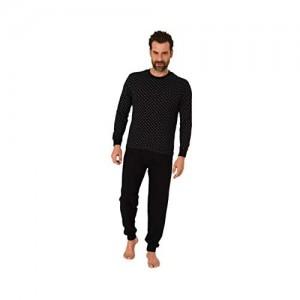 Herren Schlafanzug Pyjama Langarm mit Rundhals und Bündchen Minimal-Print 66624 Farbe:schwarz Größe:54